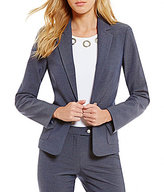Calvin Klein Petites Luxe Stretch Dressy Denim Suiting Grommet Trim Jacket
