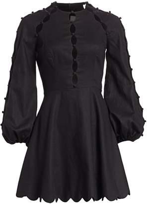 Zimmermann Goldie Scalloped Puff-Sleeve Mini Dress