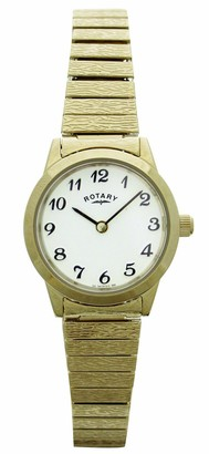 Rotary Women's Quartz Watch with White Dial Analogue Display and Gold Stainless Steel Bracelet LB00762
