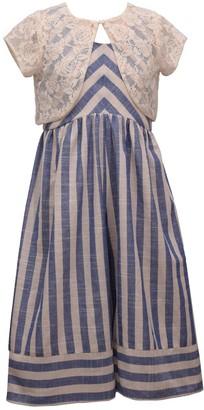 Bonnie Jean Girls 7-16 Striped Jumpsuit & Lace Cardigan Set