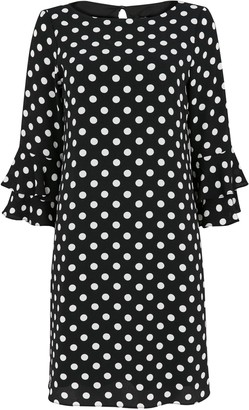 Wallis Monochrome Polka Dot Flute Sleeve Dress