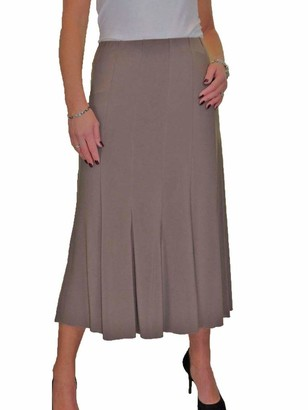 icecoolfashion Women's Smart Maxi Lined Flare Panel Fishtail Midi Skirt Day Workwear Business Office Evening Navy Blue 10-22 (M)