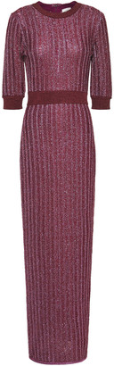 Herve Leger Distressed Metallic Ribbed Crochet-knit Maxi Dress