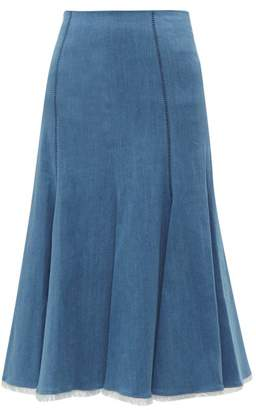 Gabriela Hearst Amy Fluted Denim Midi Skirt - Womens - Denim