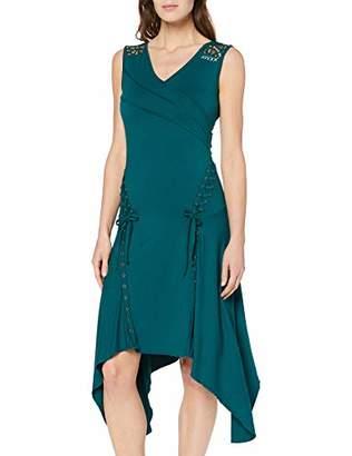 Joe Browns Women's Quirky Lace Trim Asymmetric Hem Dress, Green (Emerald (Size:UK )
