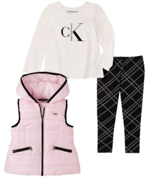 Calvin Klein Little Girl Hooded Vest with Long Sleeve Top and Plaid Legging, 3 Piece Set