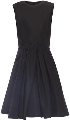 Carolina Herrera Flared Draped Silk-faille Dress