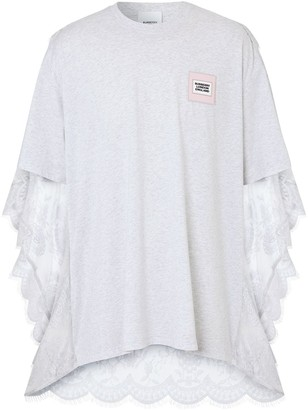 Burberry chantilly lace cape detail T-shirt