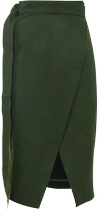 Gisy Dark Forest Wrap Midi Pencil Skirt
