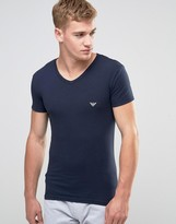 Emporio Armani Big Eagle Muscle Fit T-shirt In Navy V-neck