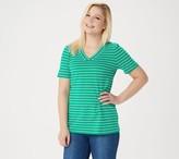 Denim & Co. Essentials Striped Perfect Jersey Short- Sleeve Top