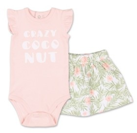 The Peanut Shell The Baby Girl Tropical Girl Crazy Coconut Bodysuit and Skirt Set
