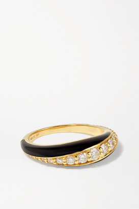Melissa Kaye Remi Small 18-karat Gold, Diamond And Enamel Ring - 7