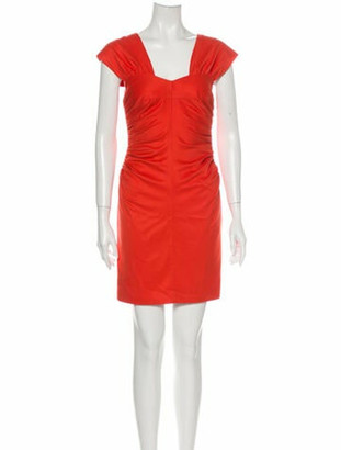 Robert Rodriguez Square Neckline Mini Dress Orange