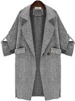 YINHAN Women's Autumn Big Size Soild Color Trench Coat 4XL