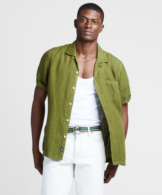Todd Snyder Short Sleeve Linen Camp Collar Shirt in Bright Green