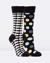 Happy Socks 2-Pack Big Dot Direction Socks
