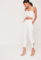 Missguided White Eyelet Lace Up Hem Cigarette Trousers