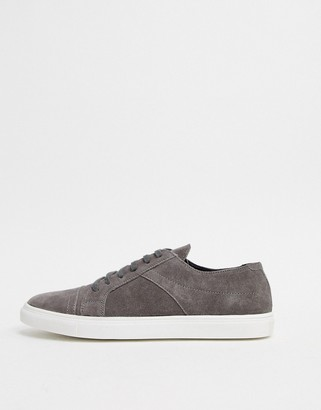 Redfoot suede lace up trainers in grey