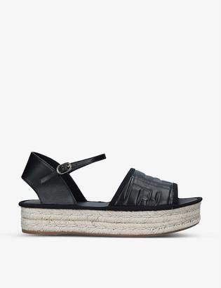 Fendi Logo-embossed open-toe leather espadrilles