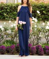 Sweet Pea Navy Ruffle Open-Shoulder Maxi Dress