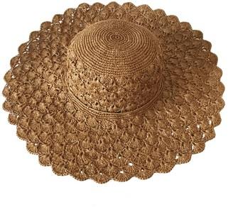 Maraina London Carla Large Raffia Sun Hat Brown