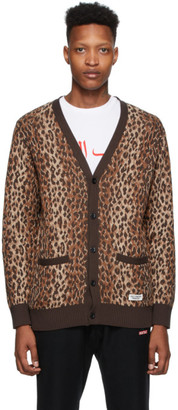 Wacko Maria Brown and Beige Leopard Jacquard Cardigan