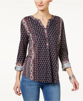 Style&Co. Style & Co. Mixed-Print Peasant Top, Only at Macy's