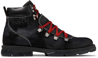 Jimmy Choo BARRA Black Oiled Suede Hiker Boots