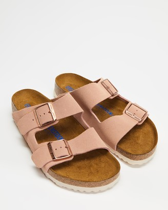 Birkenstock Women's Pink Flat Sandals - Arizona Regular Soft Footbed Suede Leather - Women's - Size 36 at The Iconic
