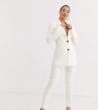 Asos Tall DESIGN Tall pop slim suit trousers-White