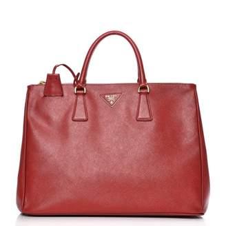 Prada Galleria Double Zip Tote Saffiano Large Fuoco Red