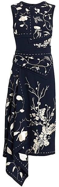 Oscar de la Renta Embroidered Asymmetric Floral Sheath Dress