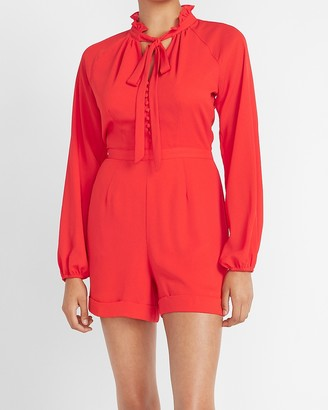Express Ladygang Tie Neck Long Sleeve Romper