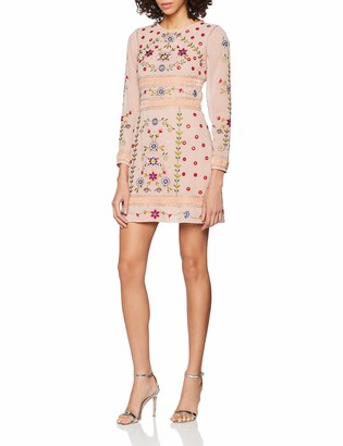 Frock and Frill Women's Fawn Floral Embroidered Mini Dress Party