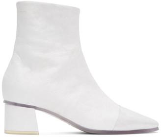 MM6 MAISON MARGIELA White Transparent Sole Ankle Boots