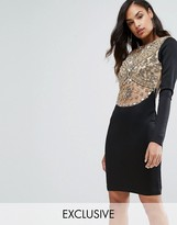 A Star Is Born A Star is Born Heavy Embellished Knee Length Dress with Long Sleeves