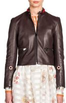 Fendi Floral-Studded Embroidered Leather Jacket