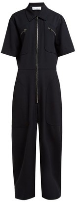 Raey Zip-front Wool-twill Jumpsuit - Navy