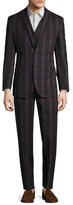 English Laundry Madras Plaid Notch Lapel Three Piece Suit