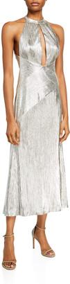 Galvan Metallic Jersey Halter-Neck Dress