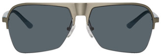 Dries Van Noten Silver and Blue Linda Farrow Edition 192 C3 Aviator Sunglasses
