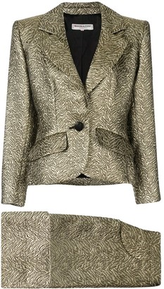 Saint Laurent Pre-Owned nervure embroidered skirt suit