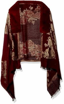Collection Xiix Ltd. Collection XIIX Women's Jacquard Wrap with Faux-fur trim