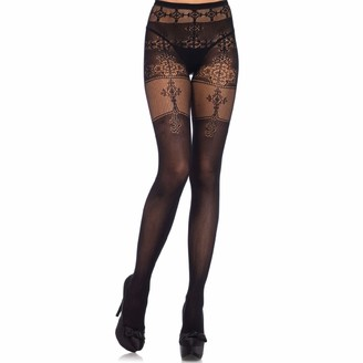 Leg Avenue Womens Spandex Opaque Tights with Filigree Detail