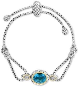 Effy Blue Topaz (5-3/4 ct.t.w) & Diamond Accent Bolo Bracelet in Sterling Silver & 18k Gold-Plate