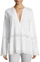 Theory Ofeliah Eyelet Indian Cotton Blouse, White