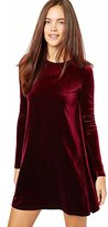 Eyekepper Women's New A-Line Loose Crewneck Long Sleeve Velvet Dress