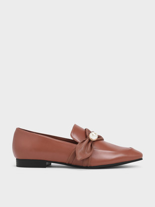 Charles & Keith Embellished Pinstripe Ruched Detail Loafers