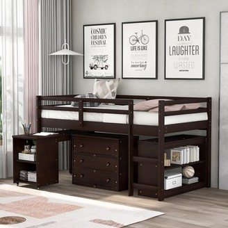 Isabelle & MaxTM Dwyn Rolling Portable Twin Low Loft Bed with with Desk, 3 Drawers, and Bookcase Isabelle & Max